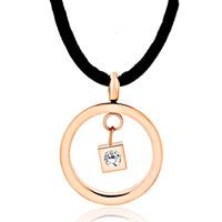 Necklace & Pendants - karma dangle hoop clear white cube crystal cz pendant necklace earrings Image.