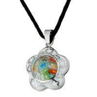 Necklace & Pendants - murano glass millefiori white color flower pendant necklace for women Image.