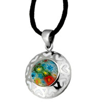 Necklace & Pendants - murano glass millefiori white color round heart pattern pendant necklace for women Image.
