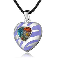 Necklace & Pendants - murano glass millefiori purple color heart pendant necklace for women Image.