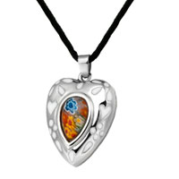 Necklace & Pendants - murano glass millefiori white color heart drop pendant necklace for women Image.