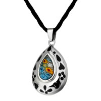 Necklace & Pendants - murano glass millefiori black color drop heart pattern pendant necklace for women Image.