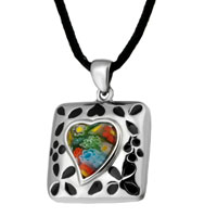 Necklace & Pendants - murano glass millefiori black color square flowers pattern pendant necklace for women Image.
