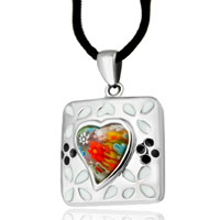 Necklace & Pendants - murano glass millefiori white color square flowers pattern pendant necklace for women Image.