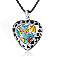 Necklace & Pendants - murano glass millefiori black dots double heart pendant necklace Image.