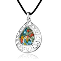 Necklace & Pendants - murano glass millefiori white color art drop pendant necklace for women Image.