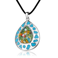 Necklace & Pendants - murano glass millefiori blue color art drop pendant necklace for women Image.