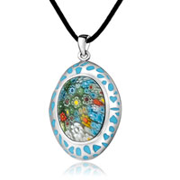 Necklace & Pendants - murano glass millefiori blue color oval pendant necklace for women Image.