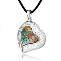 Necklace & Pendants - murano glass millefiori white color art heart pendant necklace for women Image.