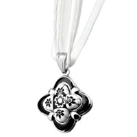 Necklace & Pendants - silver petal black flower pendant necklace Image.