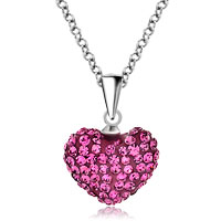 Necklace & Pendants - heart necklace pendant rose pink cz crystal round pendant Image.