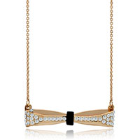 Necklace & Pendants - 18 k golden pave cz ribbon bow black white crystal pendant necklace Image.