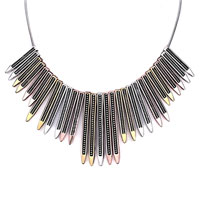 Necklace & Pendants - statement necklace retro many golden silver copper different length pencils exaggerate necklace pendant Image.