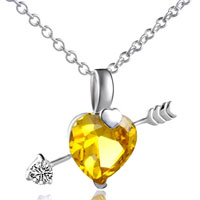 Necklace & Pendants - november crystal heart arrow pendant necklace sterling silver Image.