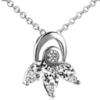Necklace & Pendants - april crystal flower pendant necklace silver Image.