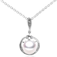 Necklace & Pendants - sterling silver round framed pearl pendant necklace sterling silver pendant Image.