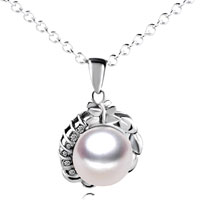 Necklace & Pendants - sterling silver flower framed pearl pendant necklace sterling silver pendant Image.