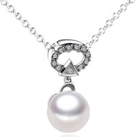Necklace & Pendants - sterling silver pearl in oval crystal set pendant necklace sterling silver pendant Image.