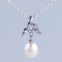 Necklace & Pendants - silver leaf cultured freshwater pearl dangle pendant necklace Image.