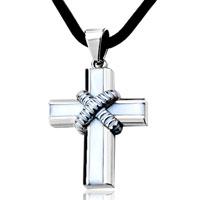 Necklace & Pendants - cross necklaces refinement silver criss cross bundled black line pendant earrings Image.
