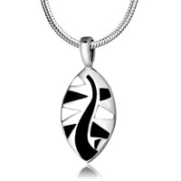 Necklace & Pendants - leaf black white enamel pendant necklace for women earrings Image.