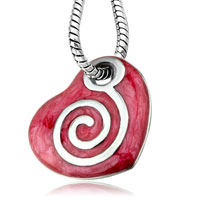 Necklace & Pendants - pink heart enamel mother of pearl pendant necklace for women earrings Image.
