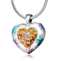 Necklace & Pendants - fashion murano glass millefiori heart shape pendant necklace earrings Image.