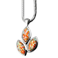 Murano Glass Jewelry - murano glass millefiori multicolor leaf pendant necklace for women earrings Image.