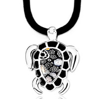 Necklace & Pendants - lovely black murano glass millefiori turtle flower pendant necklace Image.