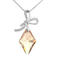 Necklace & Pendants - elegant bowknot dangle square topaz crystal pendant Image.