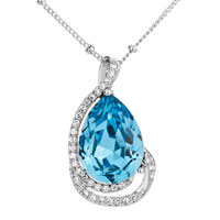 Necklace & Pendants - elegant love utopia drop aquamarine crystal pendant Image.