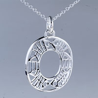 relation - circle fish pattern sterling silver pendant necklace gifts for women Image.