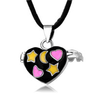 Necklace & Pendants - mothers day gifts necklace black pink heart ana yellow star &  moon pendant necklace earrings Image.