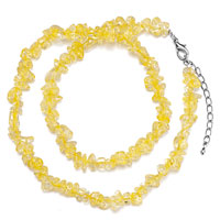 Necklaces - citrine chip stone necklaces nugget chips stretch pendant necklace for women Image.