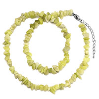 Necklaces - chip stone necklaces genuine light yellow charm gemstone nugget chips stretch pendant necklace Image.
