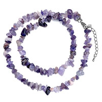 Necklaces - chip stone necklaces genuine purple light charm gemstone nugget chips stretch pendant necklace Image.
