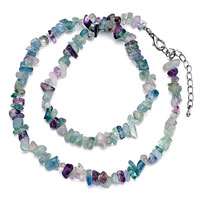 Necklaces - chip stone necklaces genuine aquamarine purple charm gemstone nugget chips stretch pendant necklace Image.