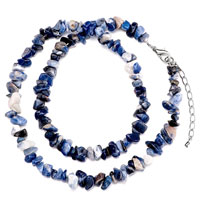 Necklaces - chip stone necklaces genuine dazzling blue black charm gemstone nugget chips stretch pendant necklace Image.