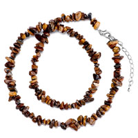 Necklaces - chip stone necklaces genuine brown charm gemstone nugget chips stretch pendant necklace Image.