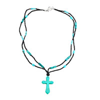 Necklace & Pendants - cross necklaces blue turquoise stone double string aquamarine bead toggle pendant Image.