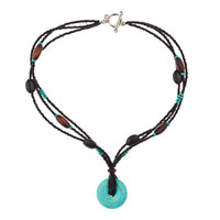 Necklace & Pendants - blue turquoise rhinestones multi string black brown bead toggle clasp pendant nacklace Image.