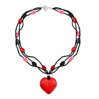 Necklace & Pendants - garnet red striped heart lampwork murano glass multi string with black red pink bead toggle clasp pendant necklace Image.