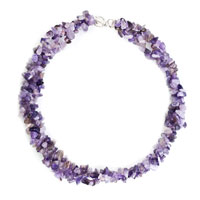 New Year Deals - chip stone necklaces genuine light purple charm gemstone nugget chips pendant necklace for women Image.