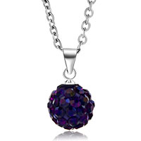 New Arrivals - purple swarovski elements crystal shamballa necklace pendant with 18  inch long rolo chain earrings Image.