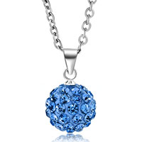 Necklace & Pendants - blue swarovski elements crystal shamballa necklace pendant with 18  inch long rolo chain Image.