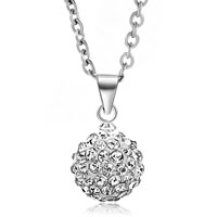 Necklace & Pendants - white swarovski elements crystal shamballa necklace pendant with 18  inch long rolo chain Image.
