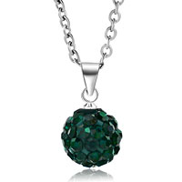 New Arrivals - green swarovski elements crystal shamballa necklace pendant with 18  inch long rolo chain earrings Image.