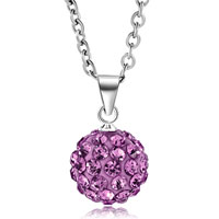 New Arrivals - light purple swarovski elements crystal shamballa necklace pendant with 18  inch long rolo chain earrings Image.