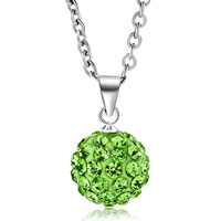 Necklace & Pendants - green swarovski elements crystal shamballa necklace pendant with 18  inch long rolo chain Image.