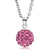 Necklace & Pendants - rose pink swarovski elements crystal shamballa necklace pendant with 18  inch long rolo chain Image.